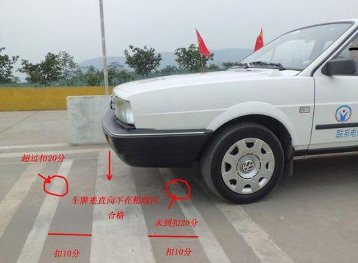 (坡道定点停车考试时,车辆离粗线30公分为合格,细线正好离粗线30公分,所以车轮压在细线上就代表车辆离粗线有30公分了)   注:向右缓缓推轮,车头1/3处看路边(即路边在车头右起的1/3处),关于这个位置的判断,也可以看右侧反光镜里地面白线的位置,车右侧压着/过白线就可以了,然后把方向回正。    (车外视角)   车辆行驶至图上位置时停车,为定点停车合格标准(车辆右边轮胎压在细线上,车牌垂直向下正好在粗线内)    那么,怎么才能停到标准的位置呢?